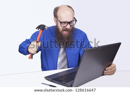 Angry businessman and hammer - (Series)