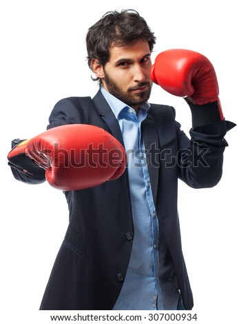 angry businessman boxing - stock photo