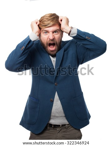 angry businessman crazy pose - stock photo