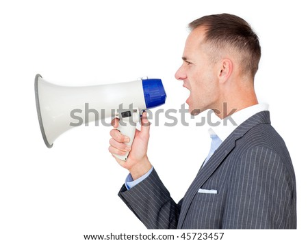 Angry businessman holding a megaphone isolated on a white background