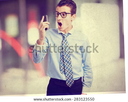 angry businessman on phone - stock photo