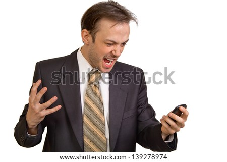 Angry businessman screams at phone isolated on white background