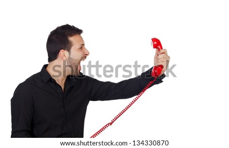 Angry Businessman shouting At Phone Isolated On White Background - stock photo