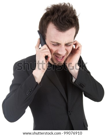 angry businessman shouting on his mobile, white background - stock photo