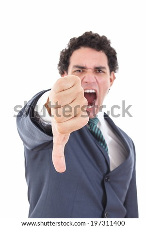 Angry businessman showing thumb down gesture as rejection symbol, man in suit screaming showing thumb down failure sign with focus on hand - stock photo