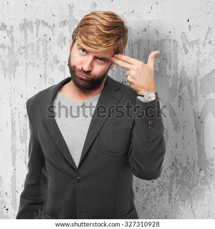 angry businessman suiciding concept - stock photo