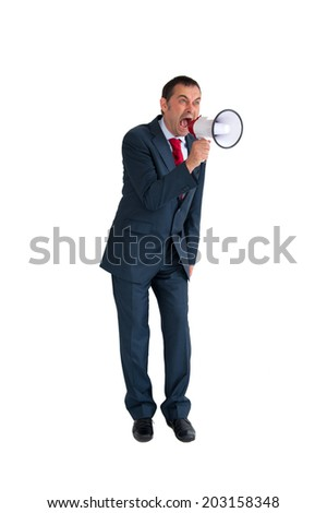 angry businessman with loudhailer isolated on white - stock photo