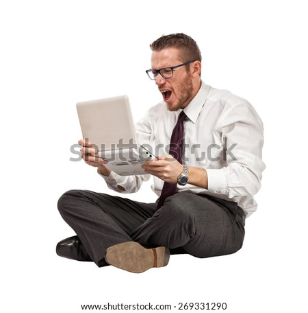 angry businessman with notebook isolated on white - stock photo