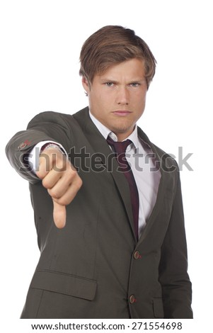 Angry businessman with thumbs down isolated on white