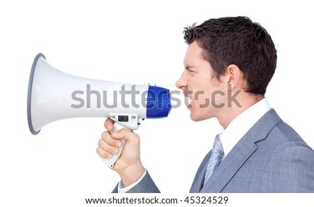 Angry businessman yelling through a megaphone against a white background - stock photo