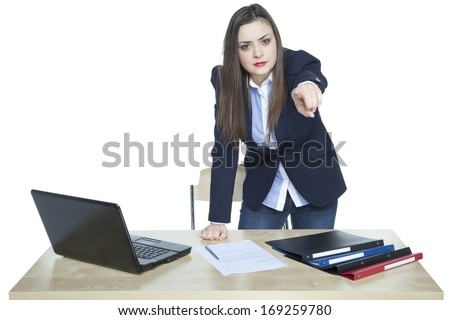angry businesswoman - stock photo