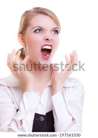 Angry businesswoman boss screaming with mouth wide open. Crazy mad girl shouting. Trouble in work. Business concept. Studio shot. Isolated on white. - stock photo