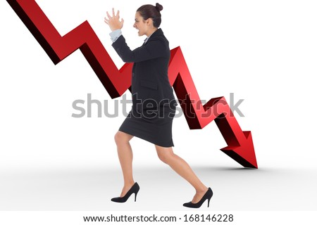 Angry businesswoman gesturing against red arrow pointing down - stock photo
