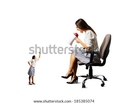 angry businesswoman screaming at small angry worker over white background - stock photo