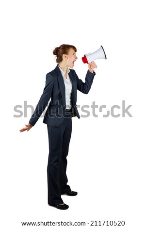 Angry businesswoman shouting through megaphone on white background