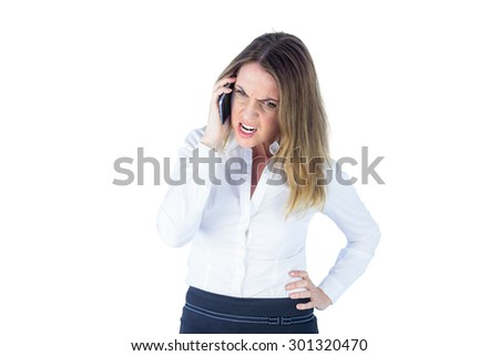 Angry businesswoman talking on the phone on white screen background