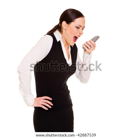 angry businesswoman with telephone. isolated on white