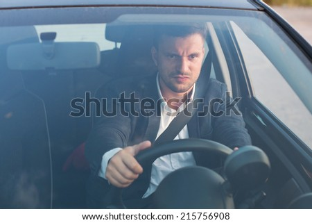 angry car driver - stock photo