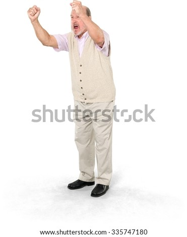 Angry Caucasian elderly man with short grey hair in business casual outfit with arms open - Isolated - stock photo