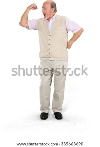 Angry Caucasian elderly man with short grey hair in business casual outfit with hands on hips - Isolated - stock photo