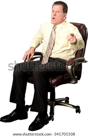 Angry Caucasian elderly man with short medium brown hair in business casual outfit arguing with person - Isolated
