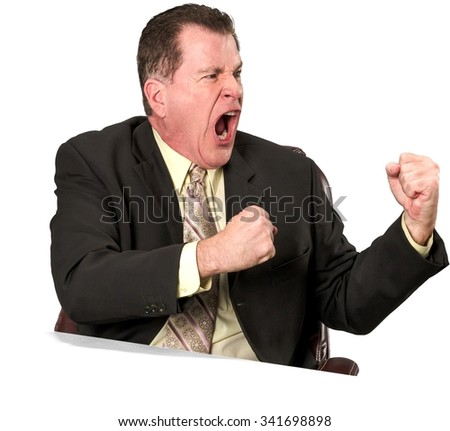Angry Caucasian elderly man with short medium brown hair in business formal outfit arguing with person - Isolated