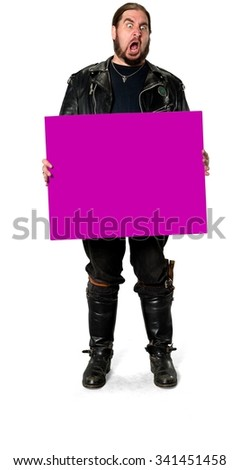 Angry Caucasian man medium brown in casual outfit holding large sign - Isolated