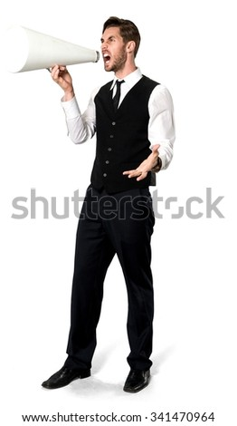 Angry Caucasian man with short dark brown hair in business casual outfit using megaphone - Isolated - stock photo