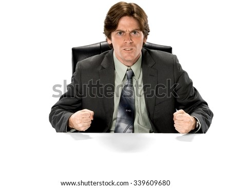 Angry Caucasian man with short dark brown hair in business formal outfit - Isolated