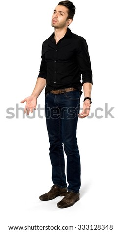 Angry Caucasian man with short dark brown hair in casual outfit pointing using palm - Isolated