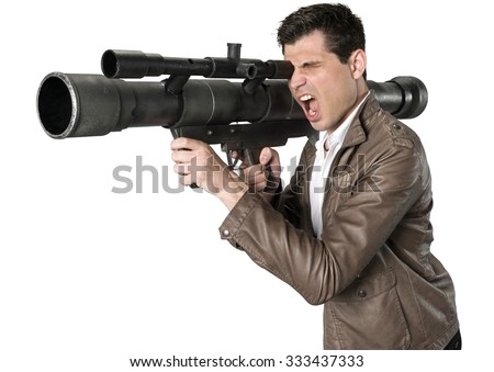 Angry Caucasian man with short dark brown hair in casual outfit using bazooka - Isolated