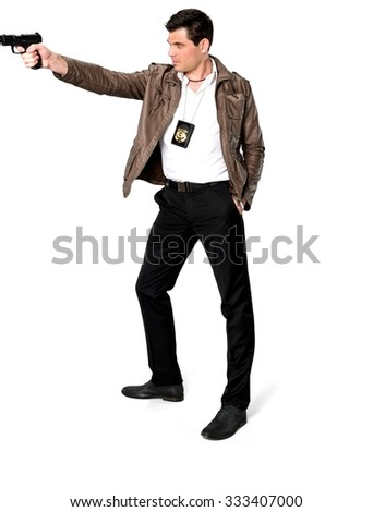 Angry Caucasian man with short dark brown hair in casual outfit using handgun - Isolated