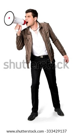 Angry Caucasian man with short dark brown hair in casual outfit using megaphone - Isolated