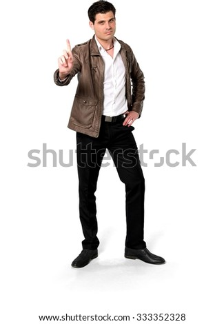 Angry Caucasian man with short dark brown hair in casual outfit with hands on hips - Isolated