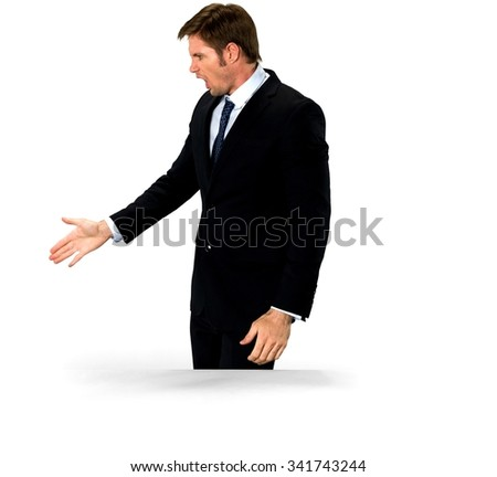 Angry Caucasian man with short medium blond hair in business formal outfit arguing with person - Isolated - stock photo