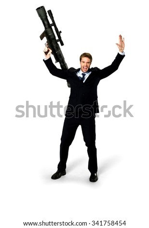 Angry Caucasian man with short medium blond hair in business formal outfit holding bazooka - Isolated - stock photo