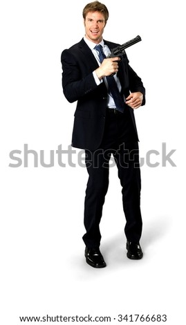 Angry Caucasian man with short medium blond hair in business formal outfit holding handgun - Isolated