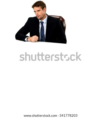 Angry Caucasian man with short medium blond hair in business formal outfit - Isolated