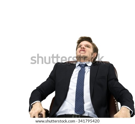 Angry Caucasian man with short medium blond hair in business formal outfit leaning - Isolated - stock photo