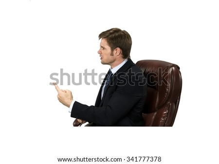Angry Caucasian man with short medium blond hair in business formal outfit pointing using finger - Isolated - stock photo