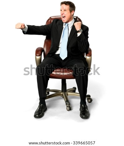 Angry Caucasian man with short medium blond hair in business formal outfit screaming - Isolated