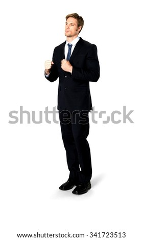 Angry Caucasian man with short medium blond hair in business formal outfit shaking fist - Isolated