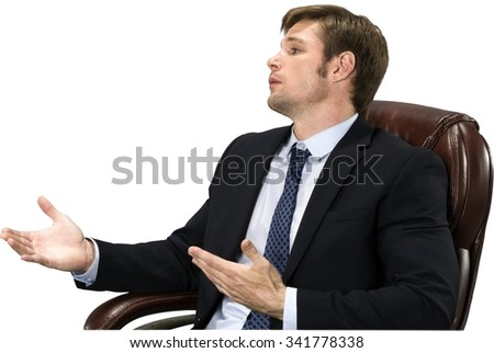 Angry Caucasian man with short medium blond hair in business formal outfit talking with hands - Isolated - stock photo