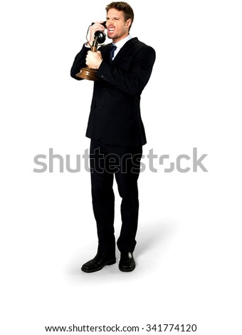 Angry Caucasian man with short medium blond hair in business formal outfit using antique phone - Isolated - stock photo