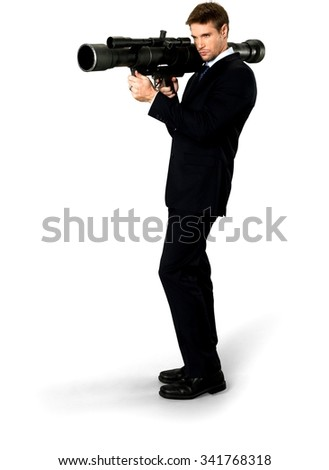 Angry Caucasian man with short medium blond hair in business formal outfit using bazooka - Isolated