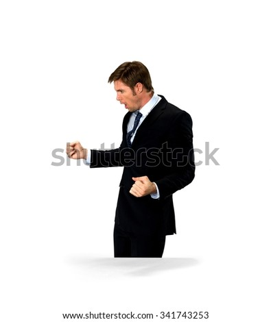 Angry Caucasian man with short medium blond hair in business formal outfit with arms open - Isolated