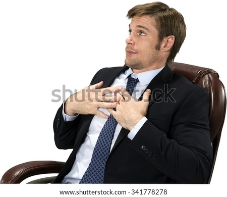 Angry Caucasian man with short medium blond hair in business formal outfit with hands on chest - Isolated - stock photo