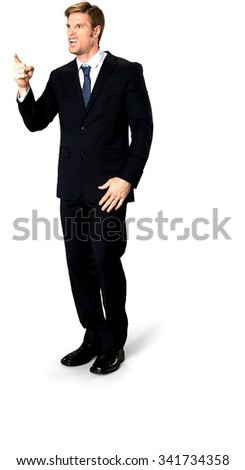 Angry Caucasian man with short medium blond hair in business formal outfit with hands on thighs - Isolated - stock photo