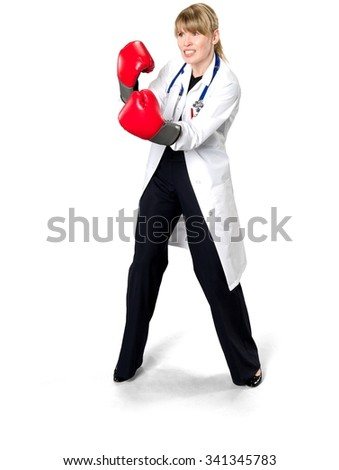 Angry Caucasian woman medium blond in uniform using boxing gloves - Isolated