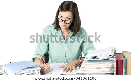 Angry Caucasian woman with medium dark brown hair in business casual outfit using dry erase marker - Isolated - stock photo